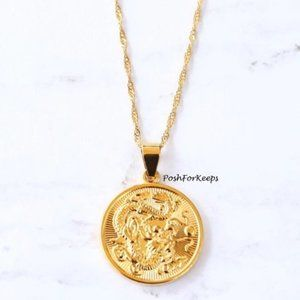 18K Gold Dragon Medallion Circle Chain Necklace
